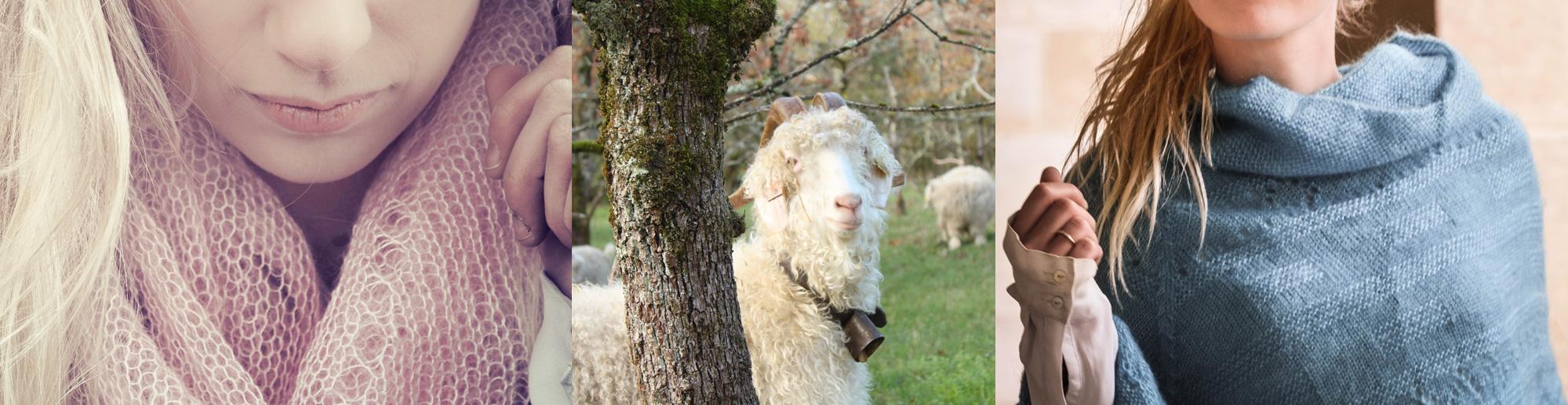 Photo écharpes, poncho en mohair et chèvres angora