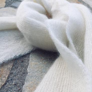 Echarpe fines côtes Ecru